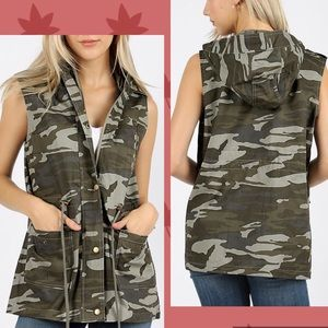 Camo military style drawstring vest with hood